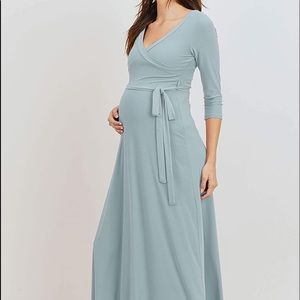 HELLO MIZ Women's Faux Wrap Maxi Maternity Dress